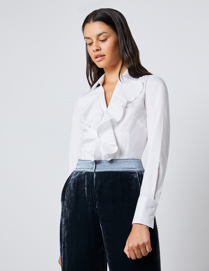 Women's Boutique White Fitted Shirt with Open Neck Frill Detail - Single Cuff
