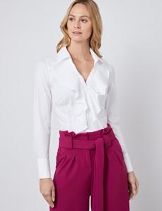 Boutique Bluse – Rüschenbluse – Slim Fit – Baumwollstretch – Wasserfall
