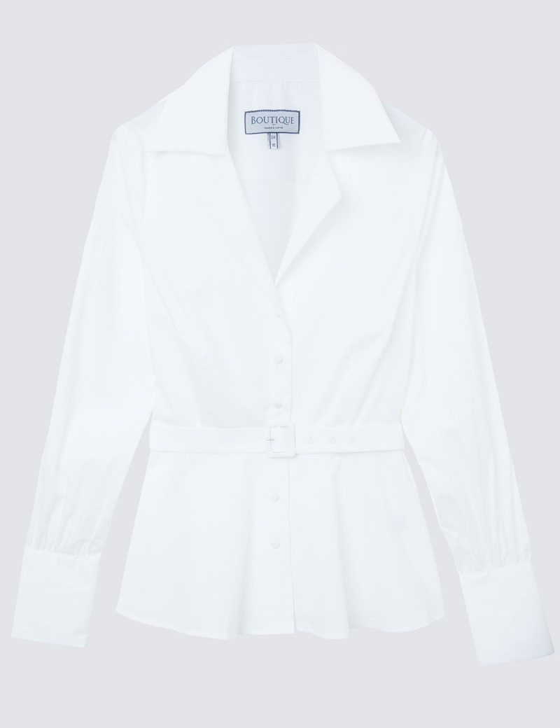 Women's Boutique White Shirt with Belted Waist