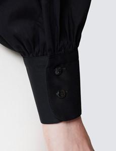 Women's Boutique Black Shirt - Single Cuff - Pussy Bow