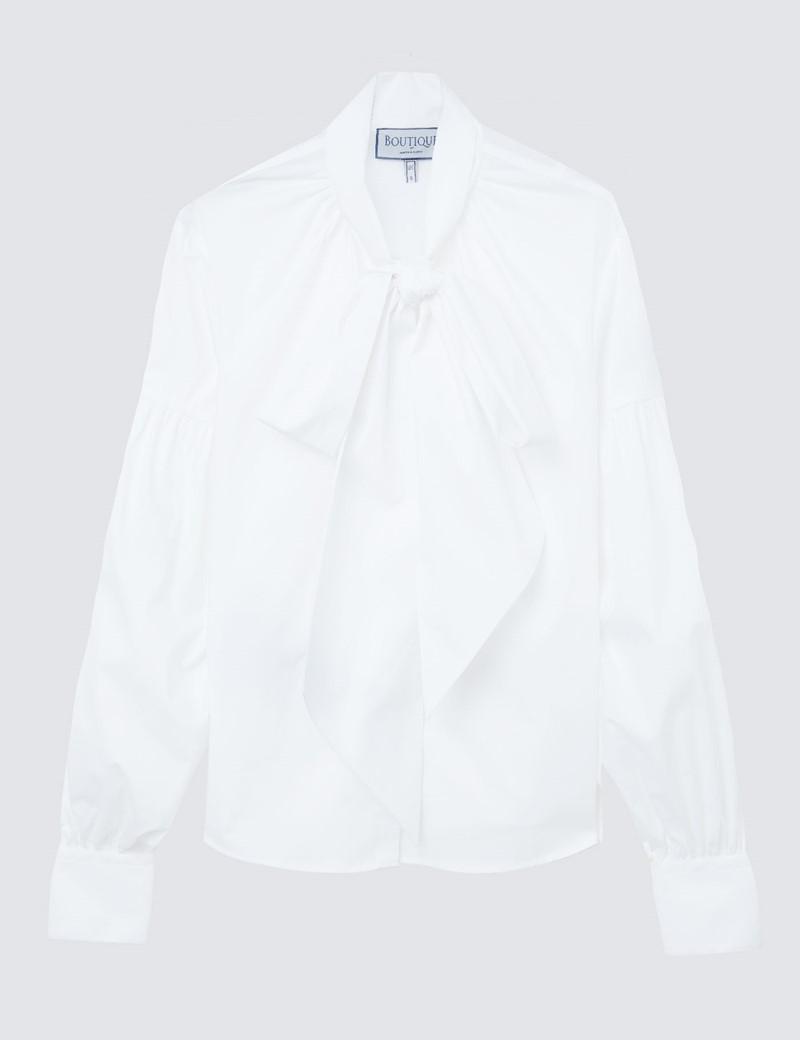 Boutique Schluppenbluse - Regular Fit - Baumwollstretch - weiß