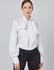 Women's Boutique White Shirt - Single Cuff - Pussy Bow