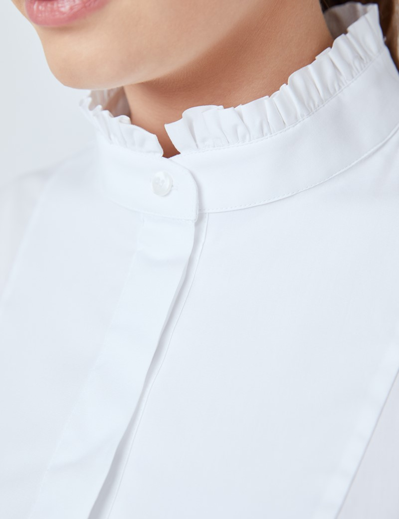 Women's Boutique White Semi Fitted Shirt with Round Neck and Bib