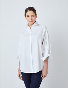 Women's White Boutique Shirt With 3/4 Sleeve Ties