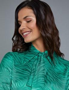 Women's Boutique Green Stripe Jacquard Semi-Fitted Shirt - Single Cuff