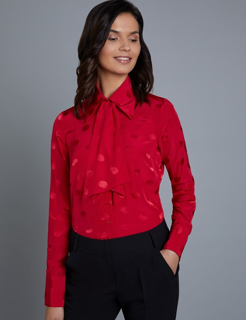 Women's Boutique Red Spot Jacquard Semi-Fitted Shirt - Single Cuff