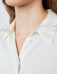 Women's Cream Boutique Satin Blouse with Concealed Placket