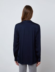 Women's Navy Boutique Satin Blouse with Pockets