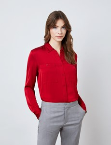Women's Red Boutique Satin Blouse with Pockets
