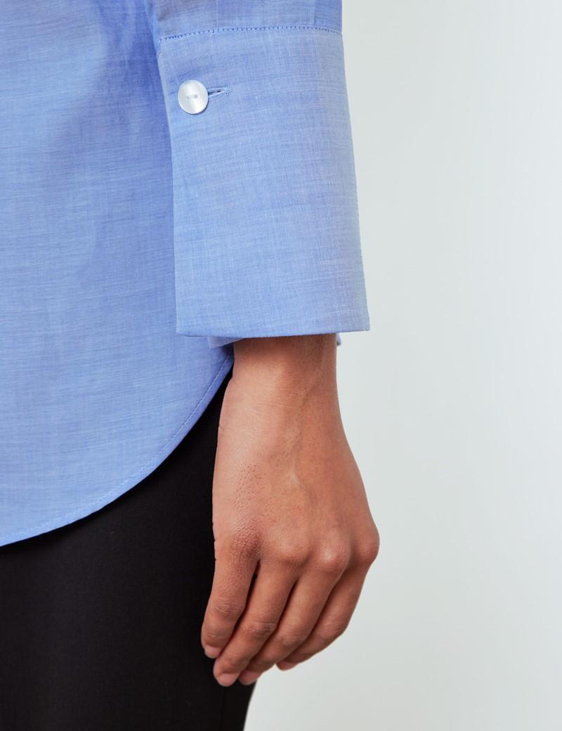 Women's Blue Cotton Tencel Mix Boyfriend Shirt