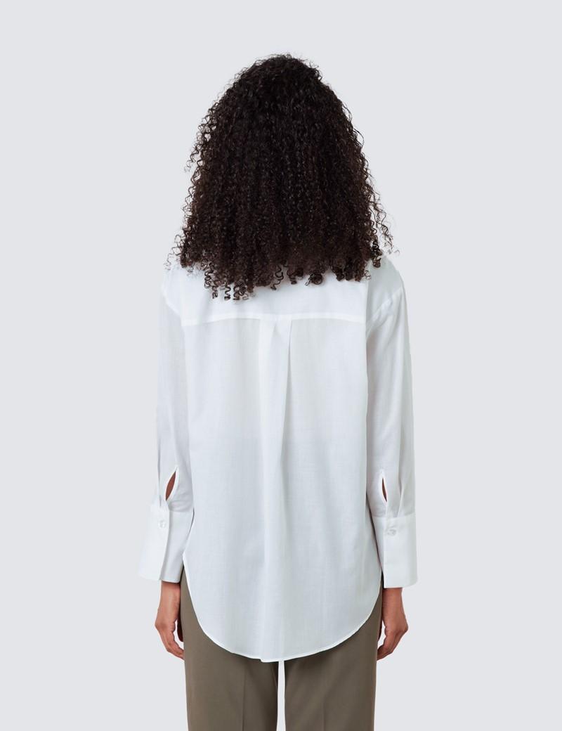 Women's White Cotton Tencel Mix Boyfriend Shirt