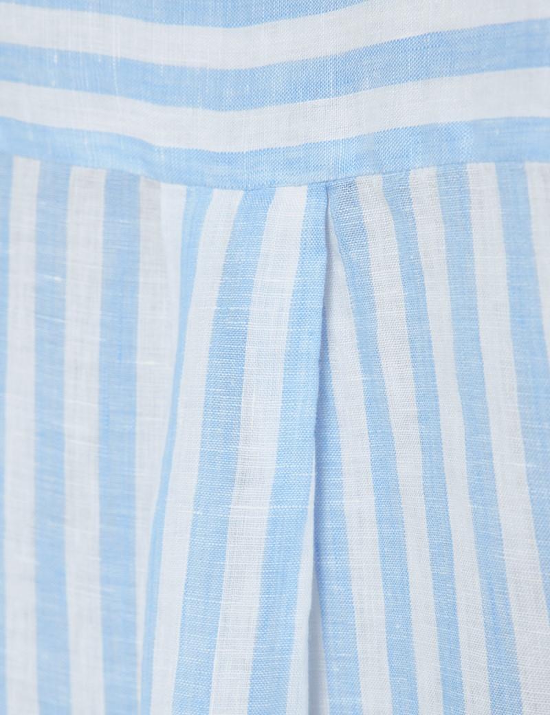Women's Blue & White Stripe Linen Boyfriend Shirt