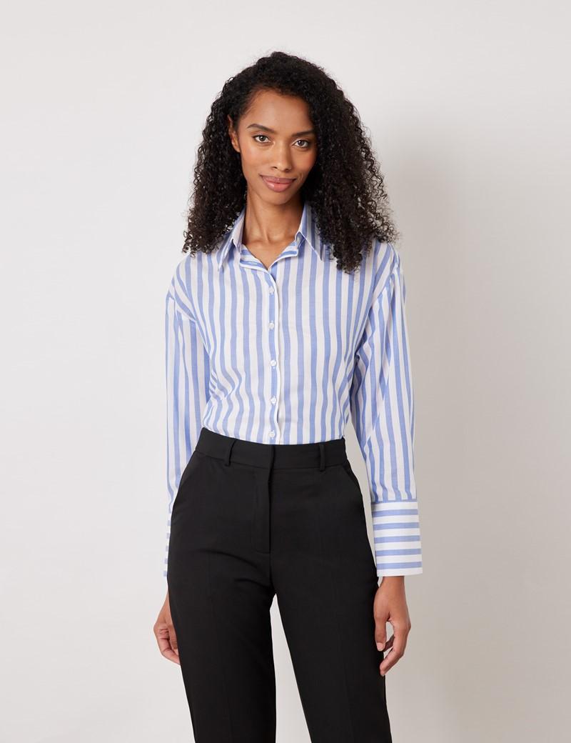 Women's White & Blue Stripe Cotton Tencel Mix Boyfriend Shirt