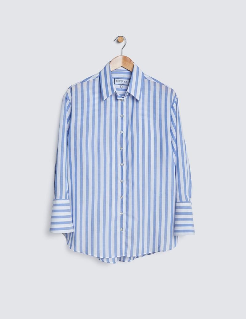 Oversized Bluse – Baumwollmix – Blau Weiß Gestreift