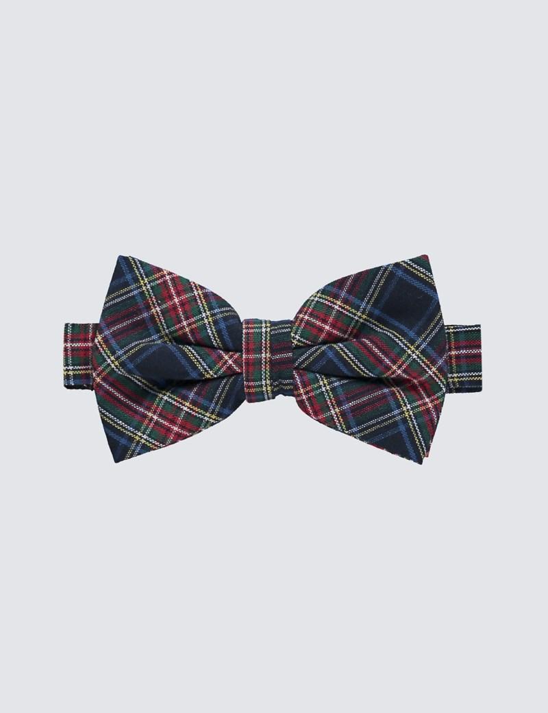Men's Navy & Green Tartan Bow Tie - 100% Cotton