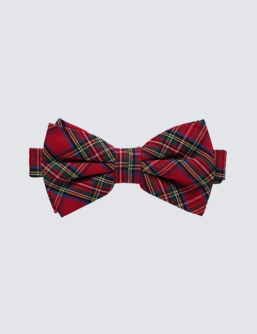 Men's Red & Green Tartan Bow Tie - 100% Cotton