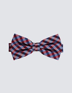 Men's Red & Blue Equal Check Ready Tied Bow Tie -100% Silk