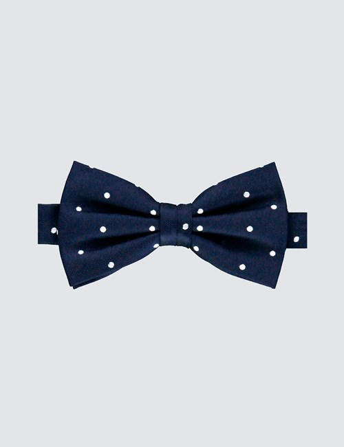 Men's Navy & White Polka Dot Bow Tie -100% Silk