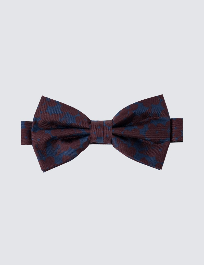 Men's Navy & Wine Printed Fly Ready Tie Bow Tie - 100% Silk