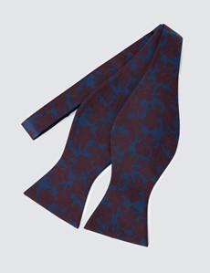 Men's Navy & Wine Self Tie Bow Tie - 100% Silk