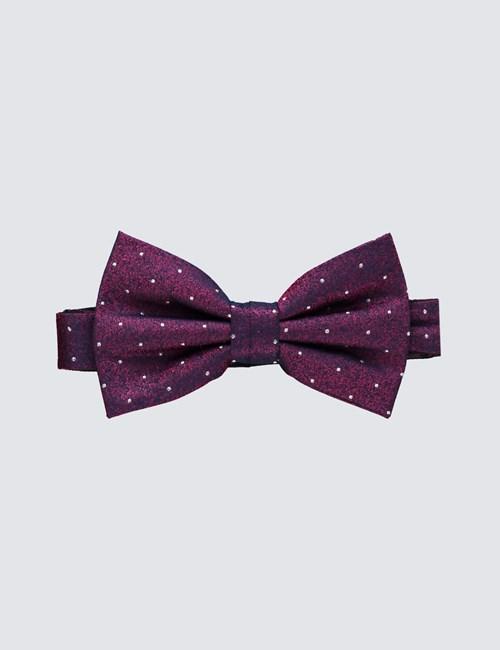 Men's Fuchsia Neat Spot Bow Tie - 100% Silk