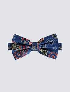 Men's Blue & Yellow Multi Paisley Ready Tied Bow Tie - 100% Silk