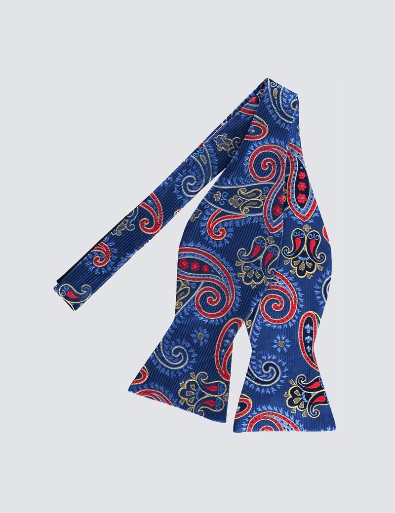 Men's Blue & Yellow Multi Paisley Self-Tie Bow Tie - 100% Silk