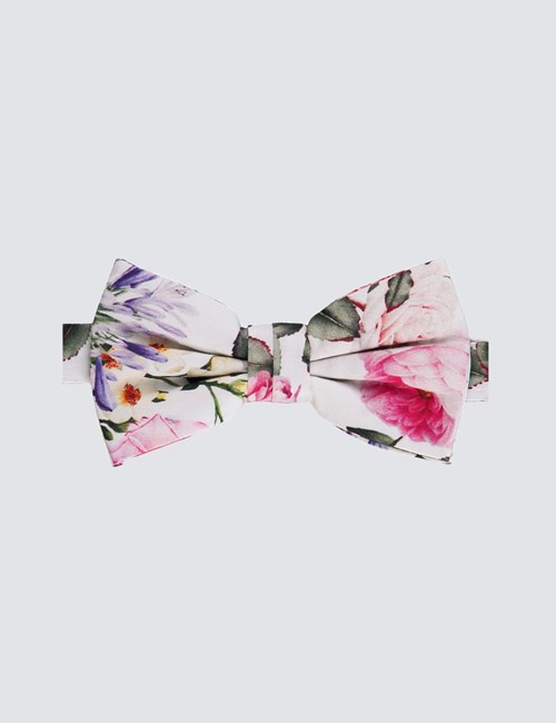 Men's White & Pink Cotton Floral Ready Tied Bow Tie - 100% Silk