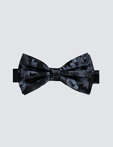 Men's Black & Light Blue Floral Ready Tied Bow Tie - 100% Silk