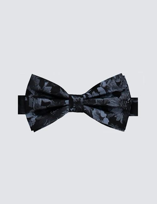 Men's Black & Light Blue Floral Ready Tied Bow Tie - 100% Silk