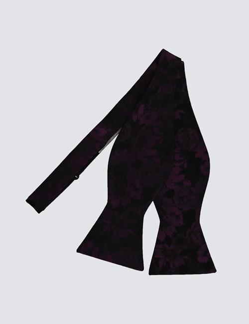 Men's Black & Purple Floral Self Tie Bow Tie - 100% Silk