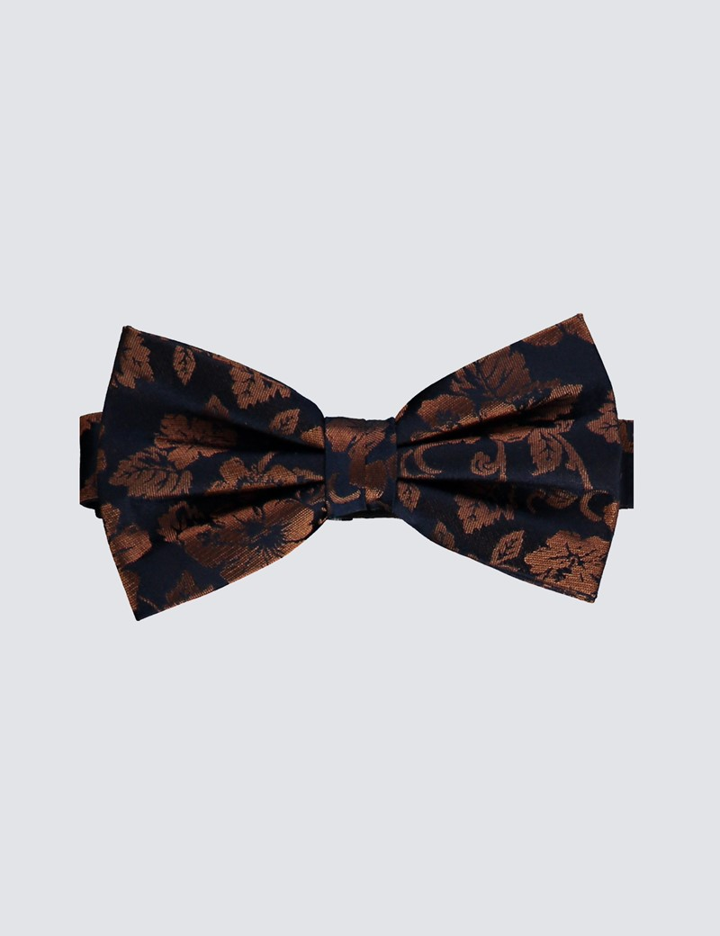 Men's Navy & Brown Floral Print Ready Tied Bow Tie - 100% Silk