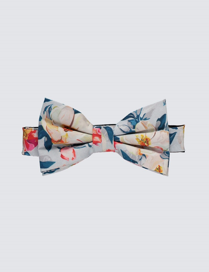 Men's Luxury Blue & Yellow Floral Bow Tie