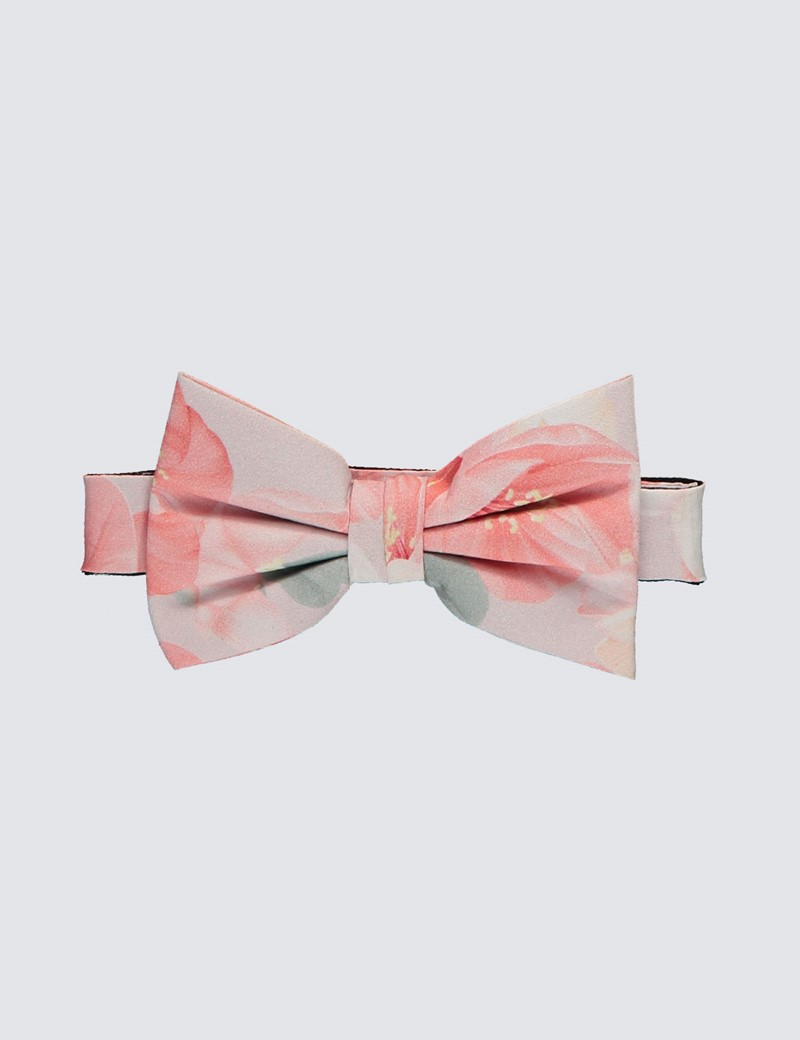 Men's Luxury Peach Floral Bow Tie