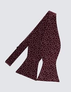 Men's Luxury Burgundy Small Leaves Print Bow Tie - 100% Silk