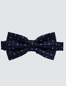Men's Luxury Navy & Red Teardrop Print Ready Tied Bow Tie - 100% Silk