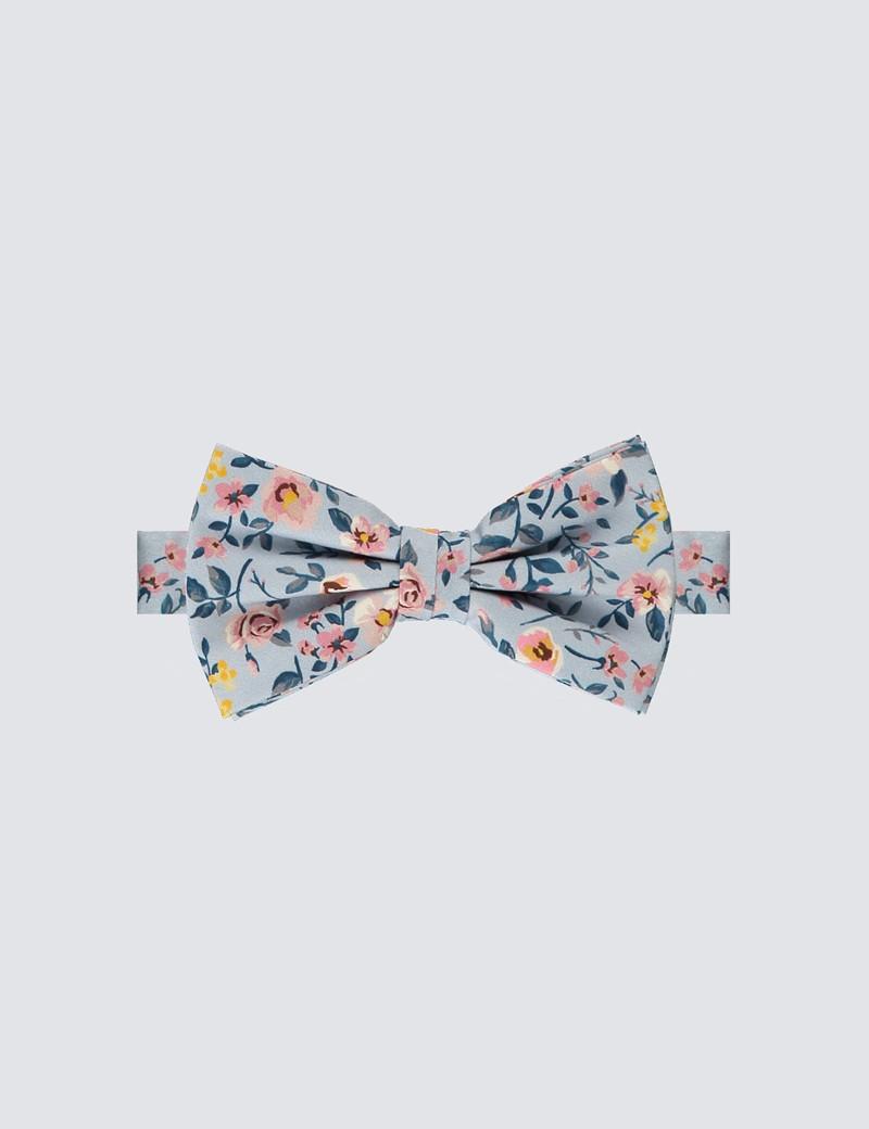 Men's Luxury White & Pink Floral Bow Tie
