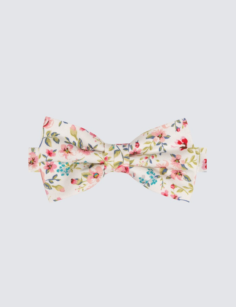 Men's White & Pink Floral Bow Tie - 100% Cotton