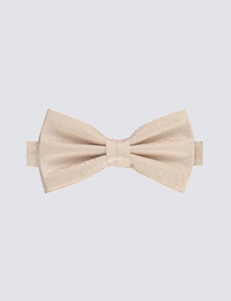 Men's Cream Paisley Ready Tied Bow Tie - 100% Silk