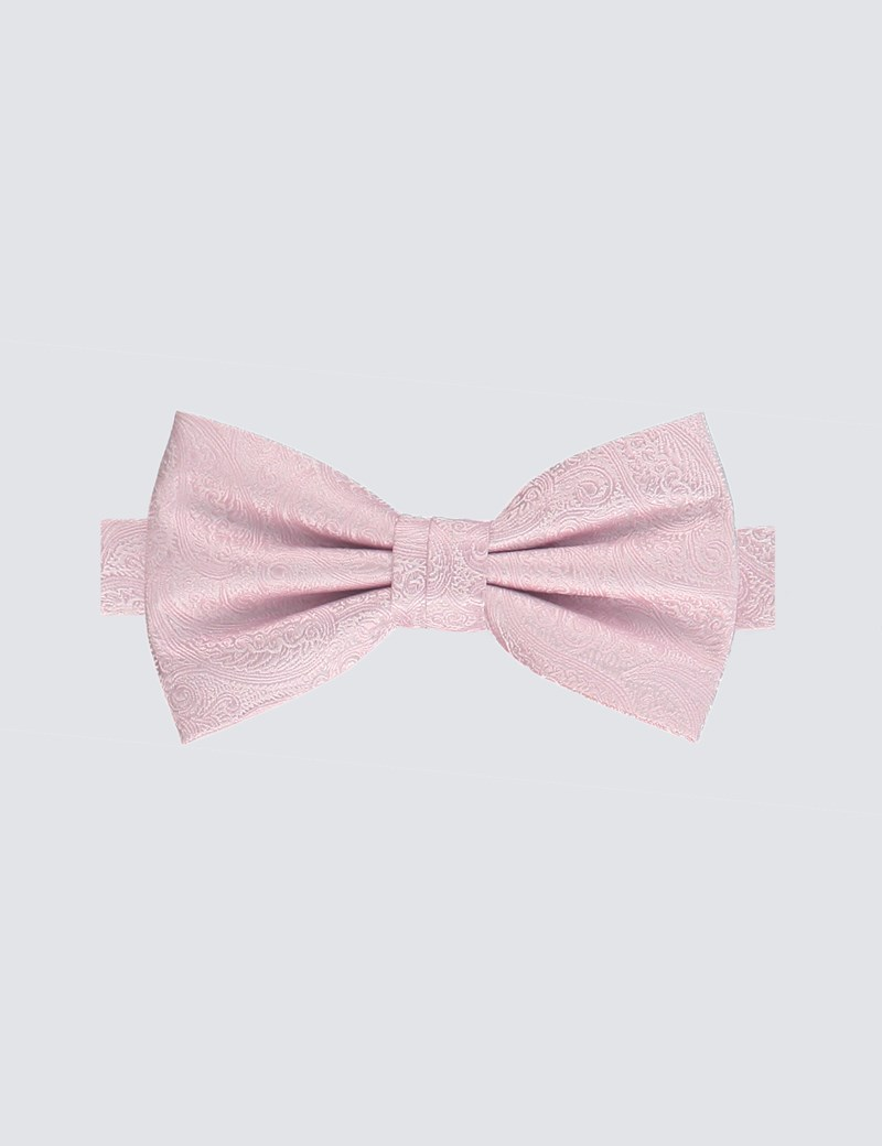 Men's Light Pink Paisley Ready Tied Bow Tie - 100% Silk