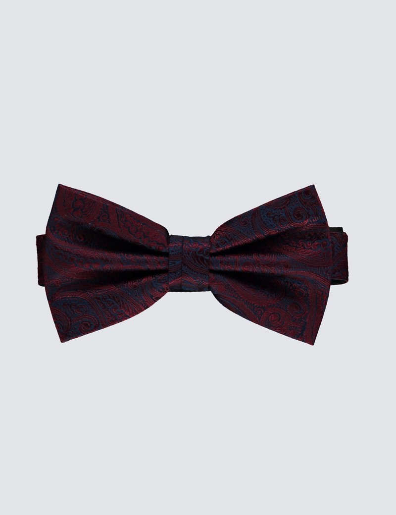 Men's Burgundy Jacquard Paisley Ready Tied Bow Tie - 100% Silk