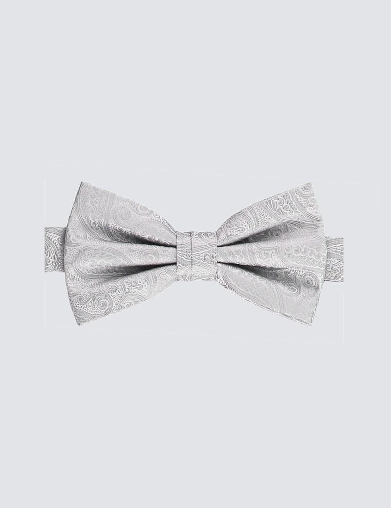 Men's Silver Paisley Ready Tied Bow Tie - 100% Silk