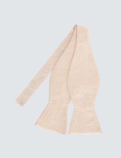 Hochzeits Kollektion – Fliege zum Selbstbinden – Seide – Paisley cremefarben