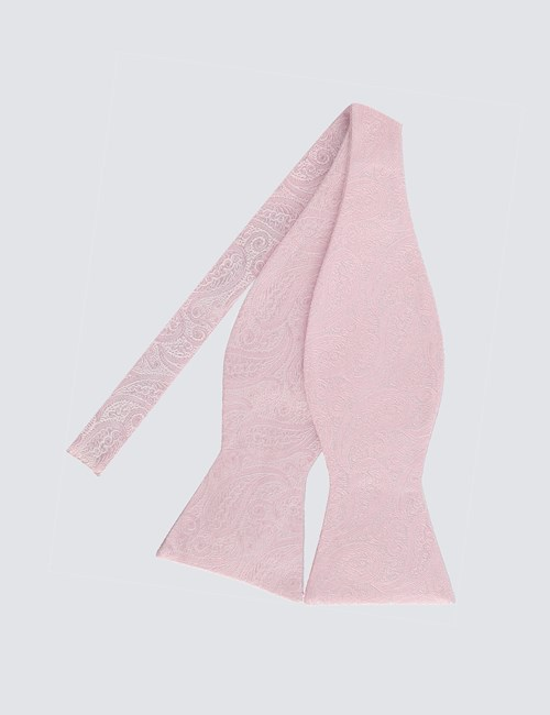 Men's Light Pink Self Tie Bow Tie - 100% Silk - 100% Silk