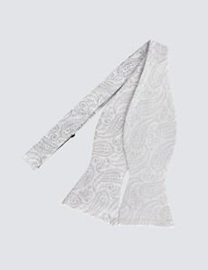 Men's Silver Self Tie Bow Tie - 100% Silk