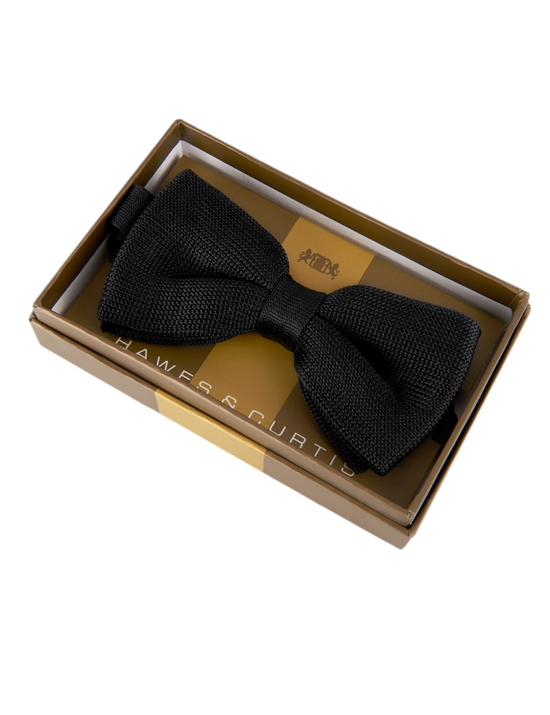 Men's Black Knitted Bow Tie - 100% Silk