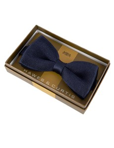 Men's Navy Knitted Bow Tie - 100% Silk