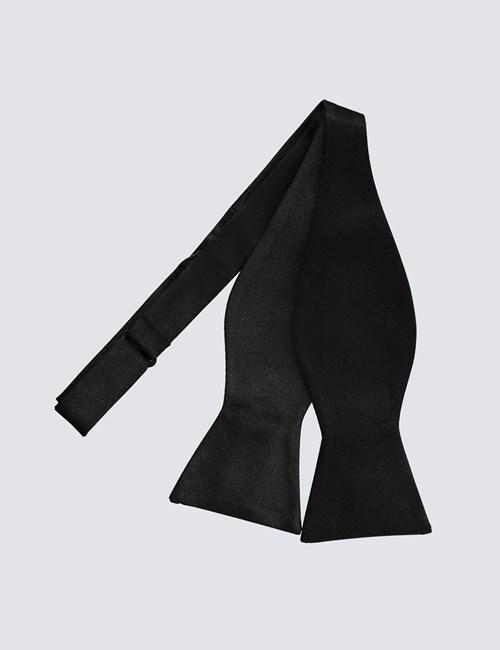 Luxuriöse Fliege zum Selbstbinden – Seide – Schwarz