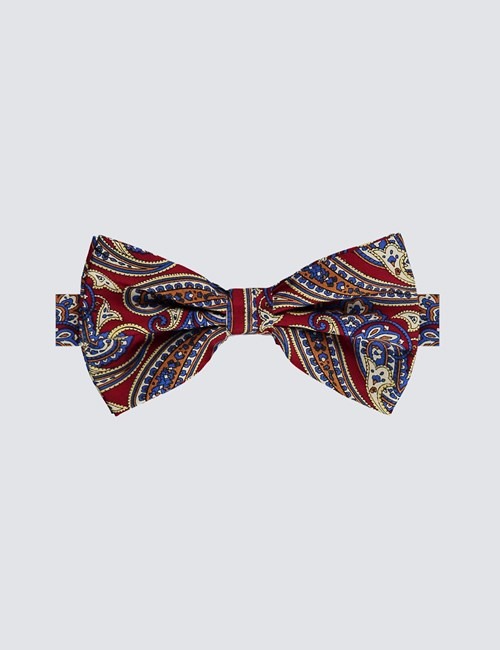 Men's Burgundy & Blue Paisley Ready Tied Bow Tie - 100% Silk