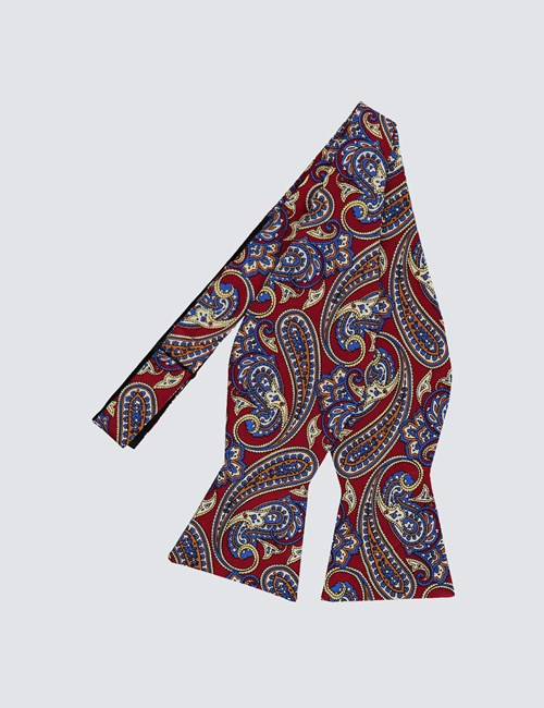 Men's Burgundy & Blue Paisley Print Self Tie Bow Tie - 100% Silk